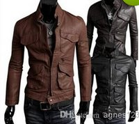 Wholesale Winter Jackets For Men Outdoor PU Brown Black Fall Winter Spring long Motorcycle Soft Shell leather sleeve denim Mens Jackets OFF new