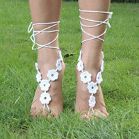 Wholesale Women crochet barefoot sandals wedding anklets beach anklets shoes ornament ankle bracelet