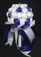 Wholesale Royal Blue And White Wedding Bouquets Artificial Personalized Customized Luxury Rhinestone Bridal Flowers
