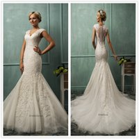 Wholesale 2015 Amelia Sposa Wedding Dresses V Neck Cap Sleeve Mermaid Lace Tulle Applique Fit Flare Sheer Backless Bridal Gowns Dhyz