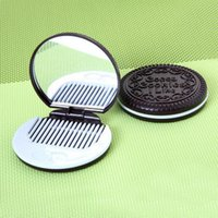 Wholesale Mini Cute Cocoa Cookies compact mirror pocket portable hand mirror with Comb Makeup Tools colors i like