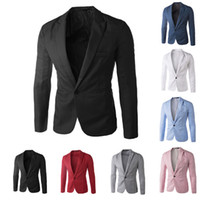 100% cotton suit - New Arrival Single Button Leisure Blazers Men Male Fashion Slim Fit Casual Suit Red Navy Blue Blazer Dress Clothing M XL
