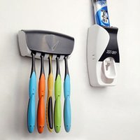 Wholesale Kitchen Dining Stand Automatic Lazy Toothpaste Dispenser Toothbrush Holder Set Wall Mount Stand