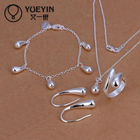Wholesale Fashion sterling Silver Jewerly Set for Women Bridal Party Wedding jewelry sets Cheap brincos