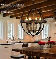 arte pendants - arte lamp Iron creative pastoral Retro Globe rope black chandelier
