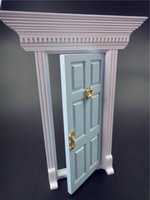 Wholesale Top Collection Miniature Dollhouse Fairy Garden Miniature Blue Cottage open outward Fairy Door With Hardware Fittings