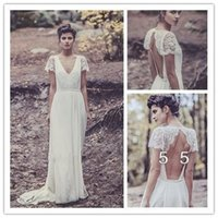 Cheap Vintage Floor Length V Neck Wedding Dresses 2015 Boho Hippie Chiffon A Line Lace short Sleeve Bridal Gowns Backless Robe De Soiree