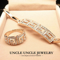 Wholesale Brand Design K Rose Gold Plated Rome Style Austrian Crystal Design Woman Jewelry Sets Bracelet Ring krgp