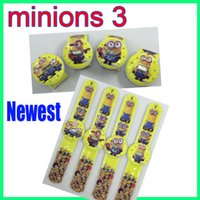 Wholesale Slap Watched - Cartoon Movies Despicable Me 3 slap watch minions 3rd Watches Me2 Slap Snap On Silicone Quartz Silicone electronic Wrist Watch