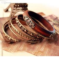 Wholesale Bohemian Retro Bangle Bracelets Fashion Retro Style Wood Carving Multipayers Bangle Bracelet Sets