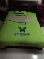 wholesale sheets - Cartoon MineCraft Creeper Nursery Bedding Sets Bedding Supplies Sheet Coverlet Set Official Kids Bedding Quilt Set Duvet Cover Pillow Cover