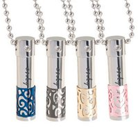 Wholesale Aromatherapy essential oil can be opened perfume bottles titanium steel with diamante pendant necklace couple special gifts