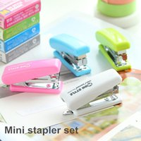 Wholesale Mini Stapler set No Staples Mini style candy color stapler grampeador kawaii stationery office material school supplies