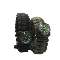 Wholesale Outdoor Gear Camping Paracord Parachute Cord Emergency Kit Survival Bracelet Rope with Whistle Buckle Compass Flint Fire Starter