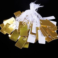 string labels - ES4251 Tetragonum Gold And White Perforated String Price Tags Price Labels