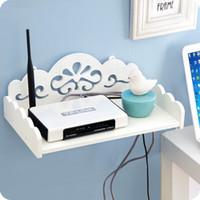 Wholesale TV Set top routers wooden shelf diy Carved HDF STB Remote Control holder storage box holder rack organizer