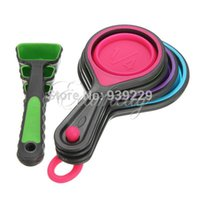 Wholesale 8pcs Durable Food Grade Silicone Measuring Cups Set Spoon Kitchen Tool Ice Cream Collapsible Baking Cook New