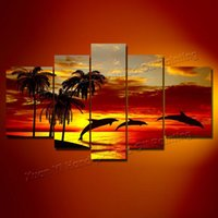 abstract sea paintings sale - Hand Painted Abstract Landscape Oil paintings Palm Tree Dolphin In Sunset Sea Abstract Canvas Art Sale panels Hotel Wall Art