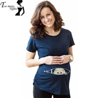 Wholesale Blue Color quot baby peeking out quot Printed maternity Tee Funny and Cute short sleeve Maternity Shirt Casual Summer Style T shirt