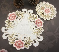 Wholesale Lovely Lace Flower Placemat Cup Mats Table Pad decoration