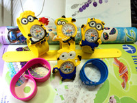 Wholesale 100pcs D Eye Despicable Me slap watch minion Precious Milk Dad Children Watches Slap Snap On Silicone Quartz Wrist Watch