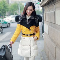 Cheap New 2014 high quality warm women winter jacket fur hood solid color coat fashion long slim wadded thick parka female WT