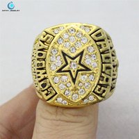 Cheap 2pcs lot gold sliver 1992 Super Bowl XXVII Cowboys Championship Ring Rhinestone crystal silver gold pleated ring for men