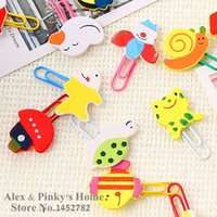 Wholesale Korea Stationery Cartoon Lovely Animals Painted Wooden Paper Clip Memo Holder