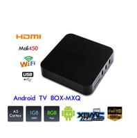 Wholesale MXQ Android TV Box Quad Core Amlogic S805 MXQ Media Player With XBMC KODI15 skylive Fully Load Update Smart TV Box