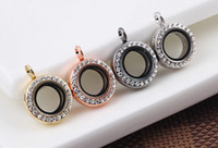 magnetic pendant - 10PCS MM Colors Mini Crystal Round Glass Floating Locket Memory Magnetic Pendant Fit For Chain Necklace