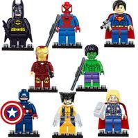Wholesale 2016 Cartoon movie toys Marvel s The Avengers Batman spiderman Iron man Captain America Thor model Building Block Toys best gifts cc80