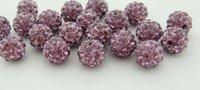 Wholesale charm Fashion accessories Handcrafted Disco clay CZ Zircon ball for Shambhala Crystal bead charm bead mm Light purple