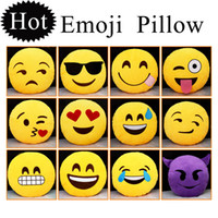 big round sofa - 2015 Hot Styles Soft Emoji Smiley Emoticon Yellow Round Cushion Pillow Sofa Stuffed Plush Toy Doll Christmas