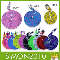 Wholesale 10ft ft FT Noodle Flat Braid Charging Cord color Sync Fabric Micro Wire USB Data Woven Cable Line Samsung S3 S4 S5 Note Blackberry