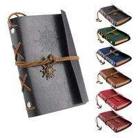 Wholesale Vintage PU Leather Journal Notebook Classic Retro Spiral Ring Binder Diary Book Custom logo print Words Gift