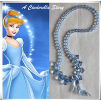 Wholesale Children s Jewelry Children dress up Fairy Necklace Cinderella Crystal shoes modeling Pendant Necklaces Girl Cinderella Necklace