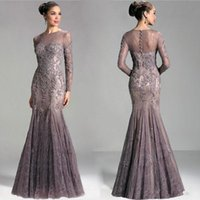 Wholesale 2015 Exquisite Janique Lace Evening Dresses Appliques Mermaid Sheer Bateau Neckline Long Sleeves Coverd Buttons Back Formal Prom Gowns