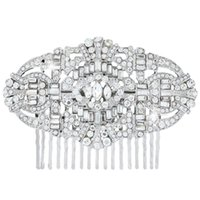 bella silver jewelry - Hair jewelry BELLA The Great Gatsby Inspired Silver Plated Flower Hair Comb Clear Austrian Crystal Headpieces Wedding Accessories hair pin