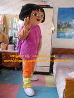 Wholesale Fancy Dora the Explorer Lassock Little Young Girl Mouse Mascot With Purple Coat Orange Pants Mascotte Adult No Free Ship