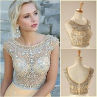 sleeve photo - 2015 Real Photos Evening Dresses Crystals Beaded Scoop Neck Cap Sleeves A Line Full length Champagne Chiffon Party Prom Gowns
