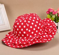 Wholesale 2014 new children accessories kids girls bucket hat red color with dot caps for baby