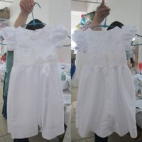 Wholesale 2015 Real Picture Christening Dresses for Baby Girls A Line Short Sleeves Lovely Beaded Lace Appliques Ribbon Baptism First Communion Gowns