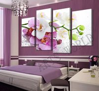 Cheap 4 PCS Hot Sell Beautifu Flowers Modern Home Wall Decor Canvas printing the Picture Art HD Oil Painting For Living Room Gift