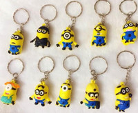 Wholesale Movie Cartoon Key Chain Despicable Me D Eye Small Minions Figure Kid toy KeyChain gift yellow people Key Ring my