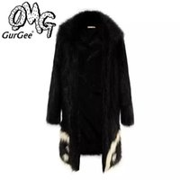 animal pelts - Fashion street style G dragon bigbang the same style fake fur coat warm coat devil maxi coat winter coat black coat out wear MF