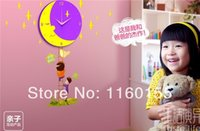 Wholesale 3D Cartoon Creative DIY E protection Flowers Wall Stick Wall Clock for Children Room Bedroom