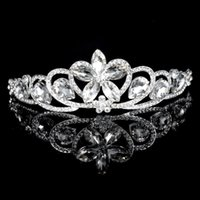 Cheap 2016 Shining Beaded Crystals Wedding Crowns Bridal Veil Tiara Crown Headband Hair Accessories Party Wedding Tiara MYF146