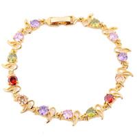 best gold jewellery - 1pc lady s K yelllow Gold Filled Jewellery multicolor clear bracelet best gift