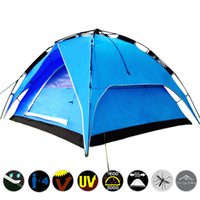 aluminum folding tent - Double Layer Outdoor Folding Rain proof Travel Tent Automatic Family Camping Tents and Shelters Outdoor Hiking Backpacking Furniture SK407