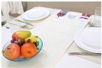 applique table runner - cm Mediterranean IKEA White Table Runner Linen Cotton Applique Red Blue Lighthouse Nautical Table Flag Home Decor